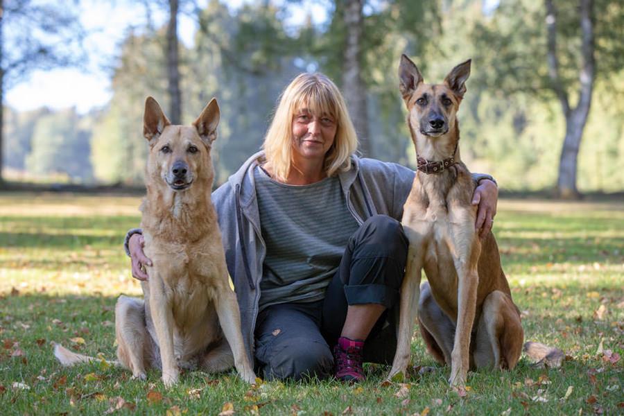 Anja mit Sam und Timber
